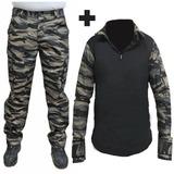Farda Calça Rip Stop Tiger 6 Bolsos + Combat Shirt Paintball