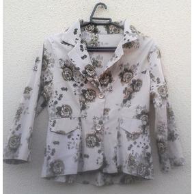 Casaquinho Feminino Camisa Bege Floral Boutique Tam P