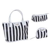 Kit Com 3 Necessaire Esclusiva Black And White - Mini Carteira, Necessaire E Mini Bolsa Com Alça - Marco Boni