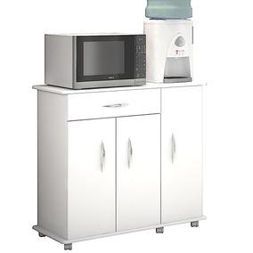 Armário 3 Portas Multiuso Branco Porta Filtro Microondas