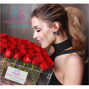 Caja En Acrilico 25x25x15 Cm Para 25 Rosas Regalo Recuerdo