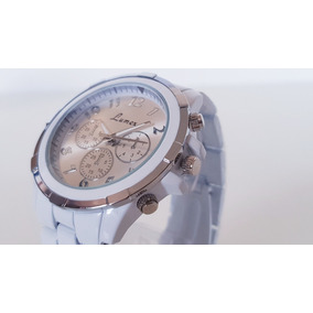 Reloj Caballero Blanco Brillante Metálico.