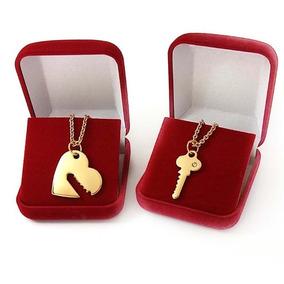 Conjunto Namorados Colar Chave- Coração Banhados A Ouro 18k