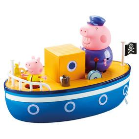 Veiculo Com Mini Bonecos - Peppa Pig - Barco Do Vovo Pig Dtc