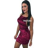 Vestido Luxo Vinho Veludo Molhado Com Bojo Moda Festa