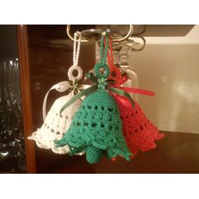 Campanitas Navideñas Para El Arbolito. Tejida Al Crochet.