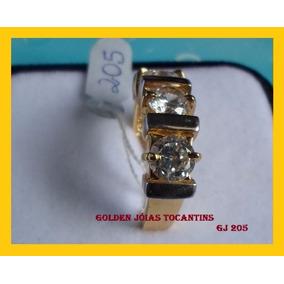Anel C/ Brilhante Mais Barato Ouro 18k Com 10 Camadas Gj 205