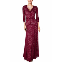 Vestido Encaje Largo Color Vino , Muy Elegante.ideal Fiestas