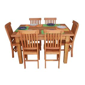 Mesa 1,60+6 Cadeiras Madeira Maciça Frete Grátis Rj, Sp E Mg