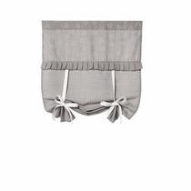 Cortina Decorativa Tecido Pois Cinza. Janelas Pequenas Bebê