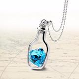 Colar Garrafa Coração Azul Cristal Pingente Pronta Entrega