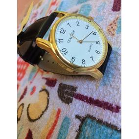 Relógio Feminino Pulseira Em Couro De Luxo Dourado Barato