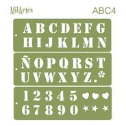 Mil Artes - Stencil Letras Y Números 3cm Alto - Abc4