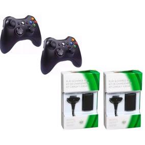 Kit 2 Controle Sem Fio Joystick Xbox + 2 Bateria Carregadora