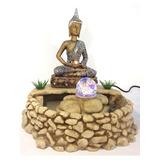 Fonte Buda Espelhado Água Luz Cristal Estatueta Led