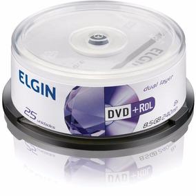 Dvd Gravavel (dual Layer) Dvd+r 8,5gb/240min/8x Elgin 25un
