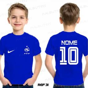 Camiseta Infantil Seleção França Francesa Copa Personalizada 49ee508fd864e