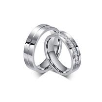 Alianças De Compromisso Namoro Com Pedras De Aço Inox Top