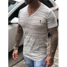 Camiseta Blusa V Masculina Gola Redonda Estilosa Algodão
