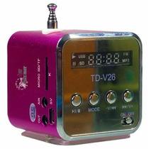 Mini Caixa Caixinha Som Portátil Td-v26 Mp3 Fm Sd Usb