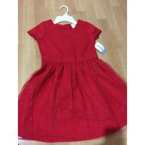 Vestido Para Niña Carters Talla 6 Color Rojo Con Brillos