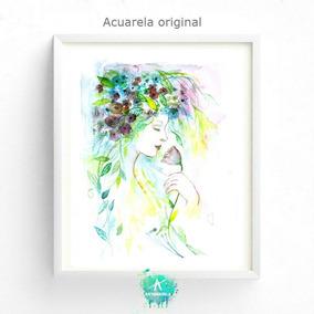 Rostro Mujer Y Flores.cuadro Decor Pintura Acuarela Original