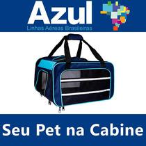 Bolsa Transporte Pet Cabine Avião Azul Cão Frete Grátis 12x