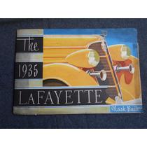 Lafayette Nash 1935 Automóvil Antiguo Folleto Catálogo