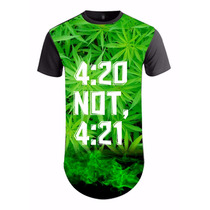 Camisa Camiseta Masculina Longline Folha Da Erva 4:20 Ref13