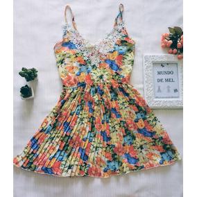 Vestido Alça Plissado Entampa Floral Com Renda
