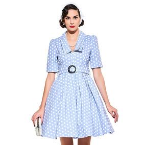 Vestido Vintage Azul Claro Bolinhas Rodadinho Anos 60 70