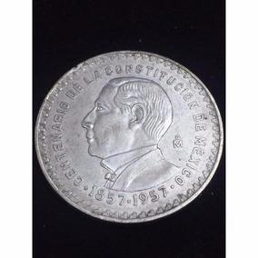 Moneda Un Peso Juarez Aniversario Constitución 1957 Plata