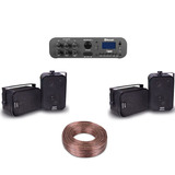 Kit Som Ambiente Amplificador Ab 100 Bt St + 4 Caixas + Fio