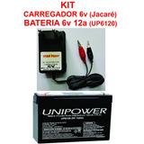 Kit Carregador 6v Jacaré + Bateria 6v 12a Up6120 Brinquedos