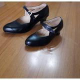 Zapato Cuero Español Y Folklore Color Negro