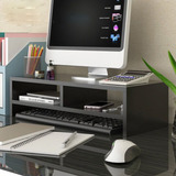 2 Niveles Computadora Monitor Soporte Escritorio Mesa Laptop