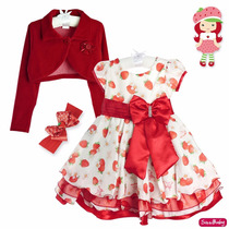 Vestido Moranguinho Festa Infantil Glamour Com Faixa Bolero