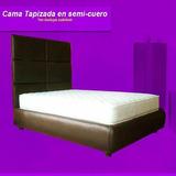 Cama King Tapizada Semicuero 2x2 Cabecero Empotrado Muebles