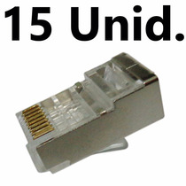 Conector Macho Blindado Plug Rj45 Cat6 Pacote C/ 15 Peças