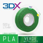 Filamento Pla Verde Metal 500g 1,75mm 3dx