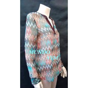 Blusa Tunica Gasa Estampada Camisa De Mujer Dia De La Madre