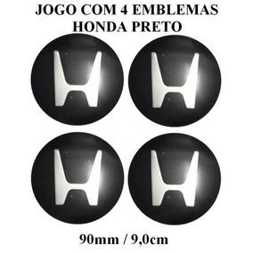 Jogo De Emblema Em Aluminio Preto Honda 90mm P/calota Roda
