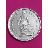 Moneda Suiza 2 Francos 1948 Plata