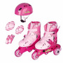Patins Roller Infantil 3 Rodas N°30 A 33 Rosa C/kit Proteção