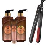 Shampoo + Acondicionador + Tratamiento Marula Oil + Plancha