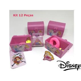 Lembrancinha De Festa - Baú Princesas Disney - Kit 12 Peças