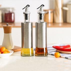 Porta Azeite/galheteiro Em Vidro Aço Inox C/ Dosador