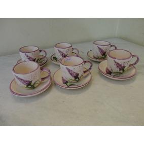 #14055 - Jogo 6 Xícaras Café Porcelana Caipira, Floral Lilás