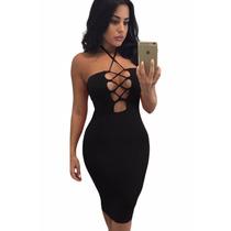 Moda Sexy Vestido Tipo Halter Negro Con Agujetas Table Dance