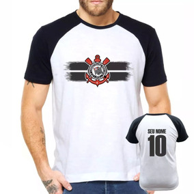 Camisa Raglan Corinthians Futebol Personalizada Com Nome